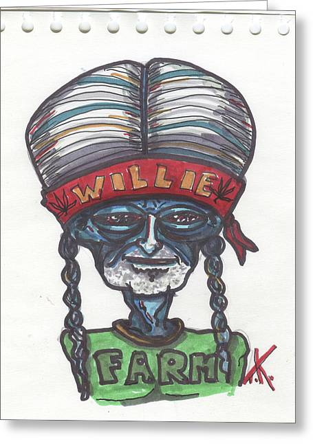 alien Willie Nelson Greeting Card