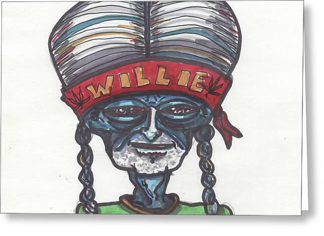 Greeting Card featuring the drawing alien Willie Nelson by Similar Alien
