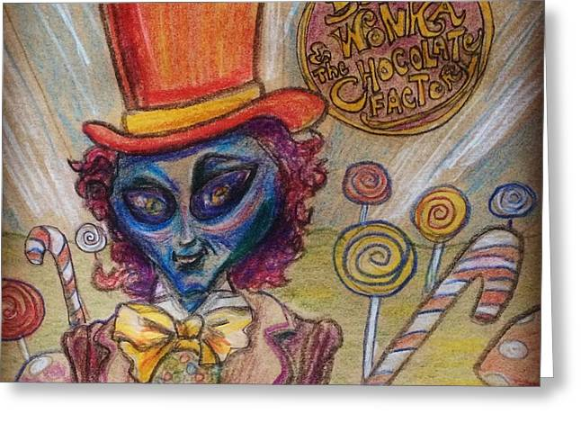 Alien Wonka And The Chocolate Factory Greeting Card