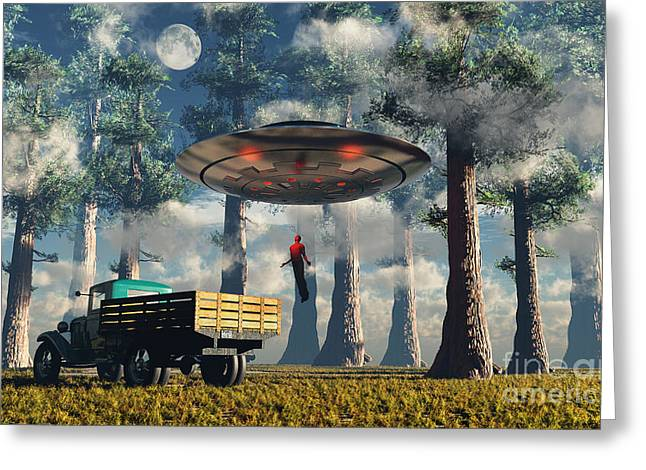 Aliens Abducting A Man Into A Flying Greeting Card