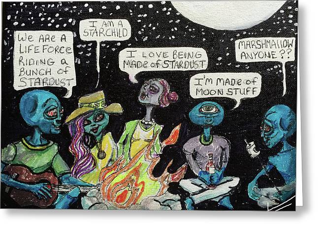 Greeting Card featuring the painting Aliens By The Campfire by Similar Alien