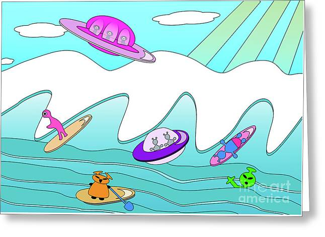 Aliens Go Surfing  Greeting Card