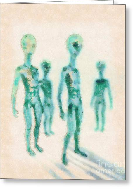 Aliens Rising By Raphael Terra Greeting Card