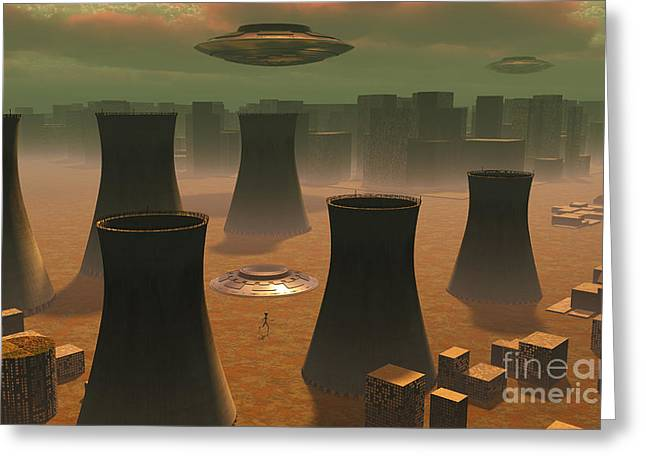 Aliens Visiting A Nuclear Power Station Greeting Card