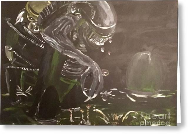 Aliens Vs Preditor Greeting Card by Christopher Kralicek