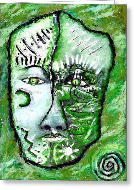 Greeting Card featuring the painting Alive A Mask by Shelley Bain