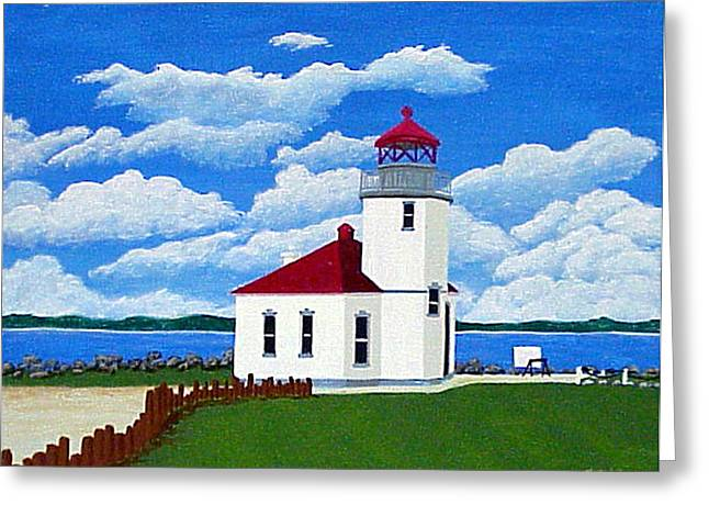 Greeting Card featuring the painting Alki Point Light by Frederic Kohli