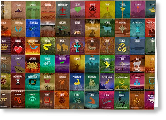 All 66 Books Of The Bible Old And New Testament Minimalist Graphic Design Greeting Card