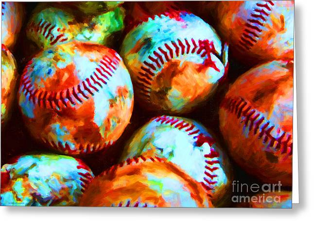 All American Pastime - Pile Of Baseballs - Painterly Greeting Card by Wingsdomain Art and Photography