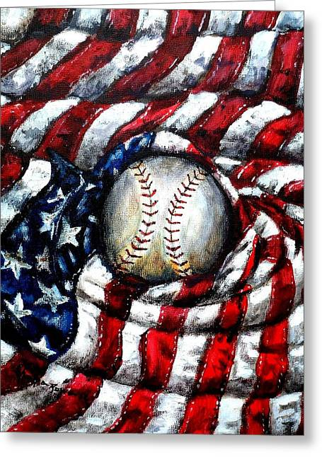 July 4th Paintings Greeting Cards - All American Greeting Card by Shana Rowe