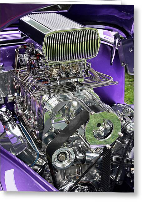 All Chromed Engine With Blower Greeting Card by Bob Slitzan