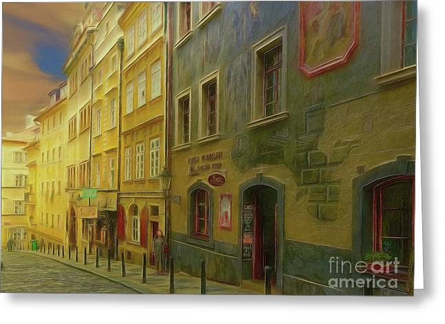All Downhill From Here - Prague Street Scene Greeting Card