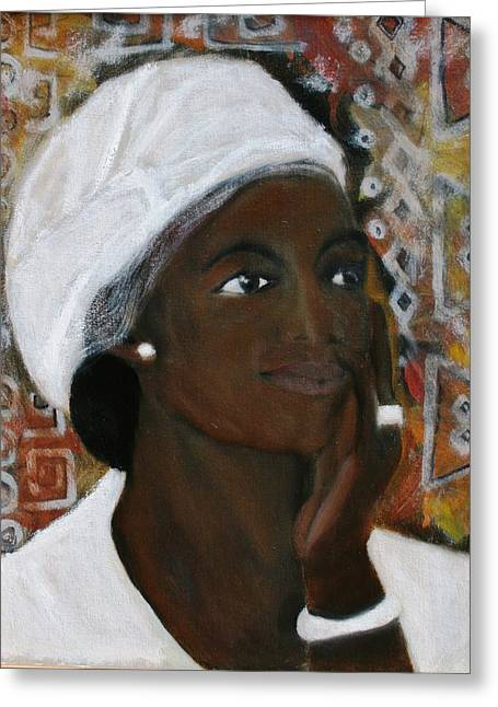 All Dressed In White Greeting Card by Neena Alapatt