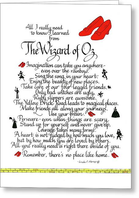 All I Need To Know I Learned From The Wizard Of Oz Greeting Card