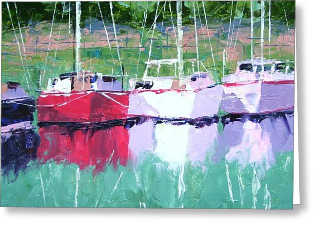 All In A Row Greeting Card by Leslie Saeta