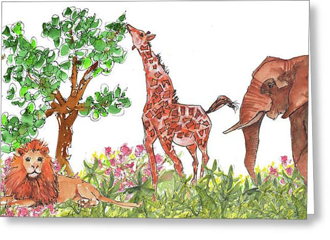 All Is Well In The Jungle Greeting Card by Kathleen McElwaine