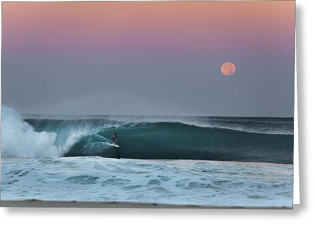 Full Moon Surfer Greeting Card by Sean Davey