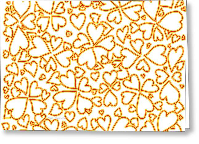 All Over Hearts Pattern Design Floral Fiesta I By Megan Duncanson Greeting Card by Megan Duncanson