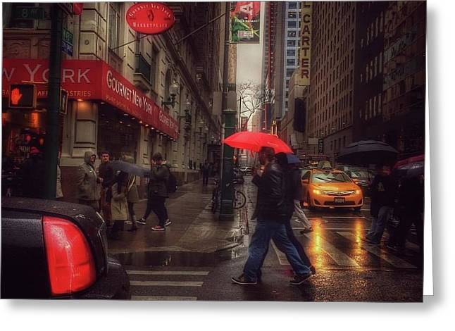 All That Jazz. New York In The Rain. Greeting Card