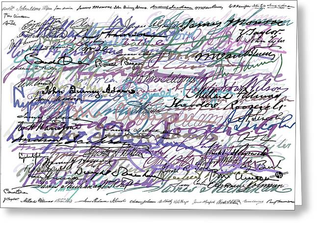 All The Presidents Signatures Blue Rose Greeting Card by Tony Rubino
