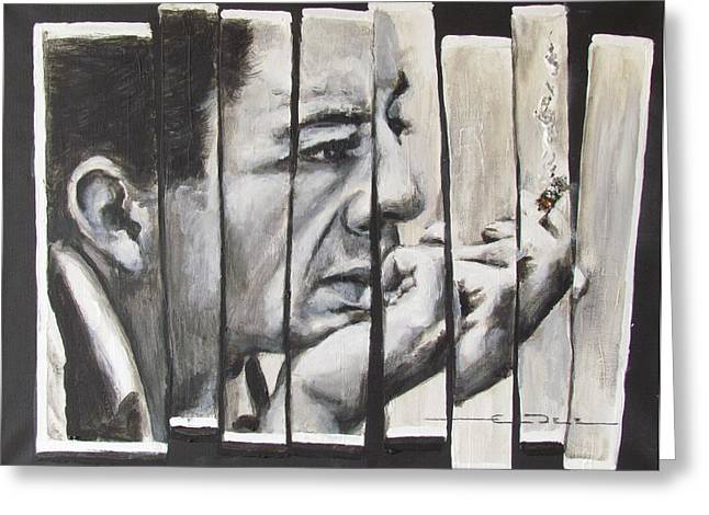 Greeting Card featuring the painting All Together Johnny Cash by Eric Dee