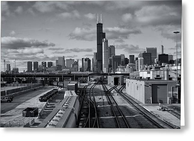 All Tracks Lead To Chicago Greeting Card by Sheryl Thomas