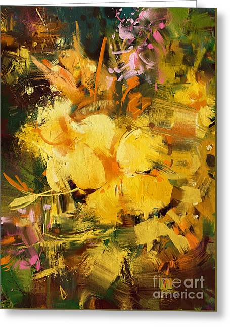 Greeting Card featuring the painting Allamanda by Tithi Luadthong