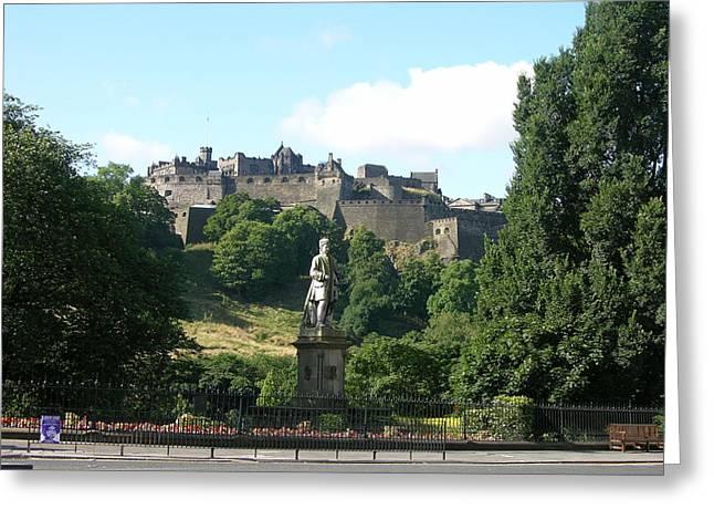 Allan Ramsay Statue And Edinburgh Castle Greeting Card