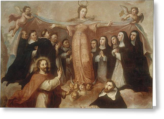 Allegory Of The Virgin Patroness Of The Dominicans Greeting Card by Miguel Cabrera