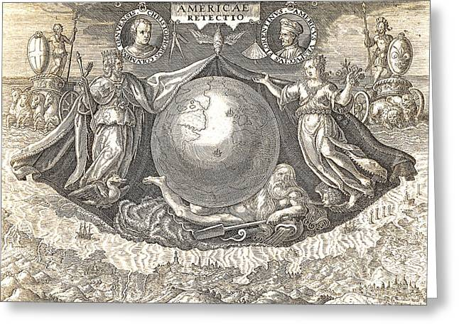 Allegory Of West Indies Or Americas Greeting Card by Theodore de Bry