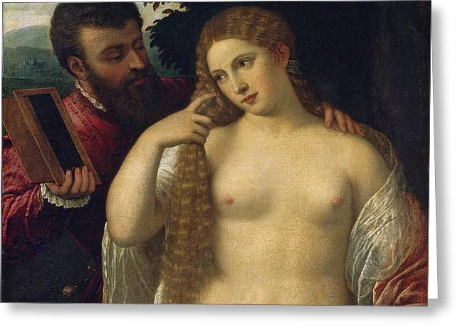 Allegory. Possibly Alfonso D'este And Laura Dianti Greeting Card by Follower of Titian