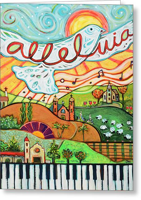 Alleluia Greeting Card by Jen Norton