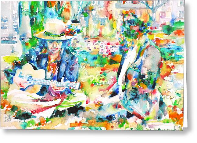 Allen Ginsberg And Bob Dylan - Watercolor Portrait Greeting Card by Fabrizio Cassetta