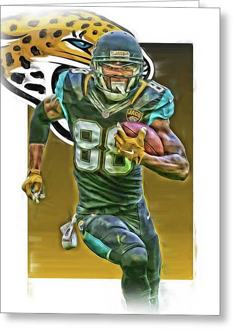 Allen Hurns Jacksonville Jaguars Oil Art 2 Greeting Card by Joe Hamilton