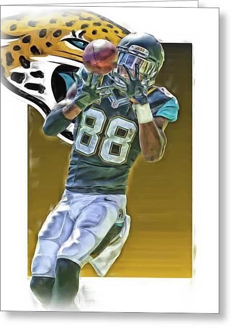 Allen Hurns Jacksonville Jaguars Oil Art Greeting Card