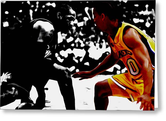 Allen Iverson And Tyronn Lue Greeting Card by Brian Reaves