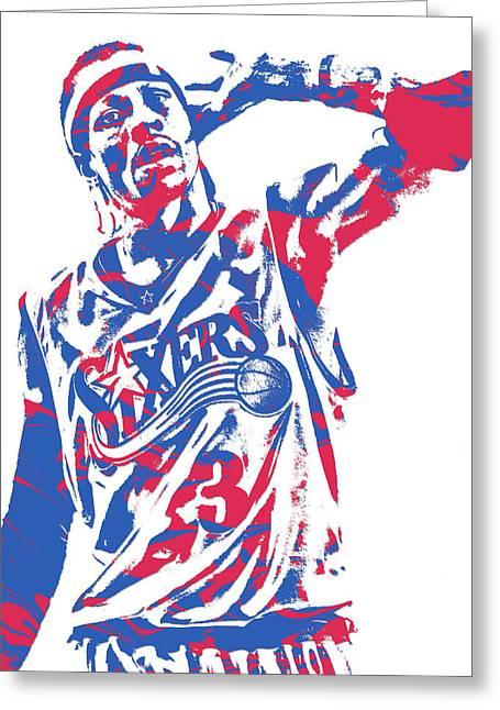 Allen Iverson Philadelphia 76ers Pixel Art 14 Greeting Card