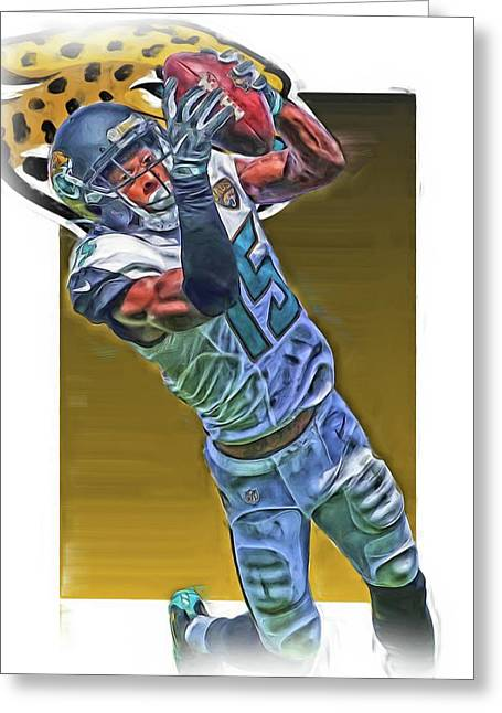 Allen Robinson Jacksonville Jaguars Oil Art Greeting Card by Joe Hamilton