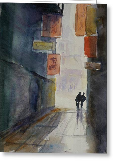 Alley In Chinatown Greeting Card by Tom Simmons