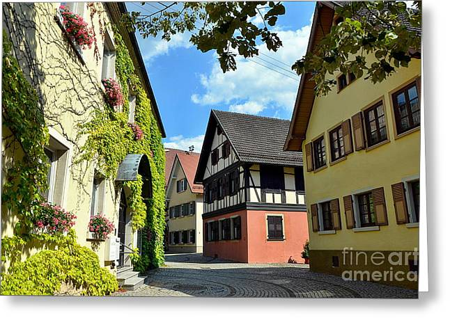 Alley In A Small Town In Germany Greeting Card by Elzbieta Fazel