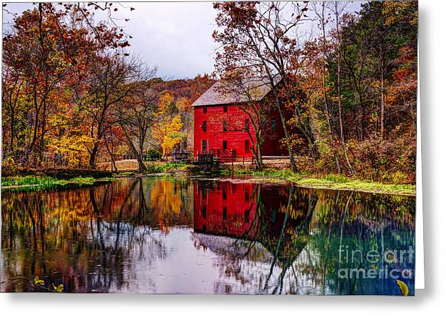 Alley Mill And Alley Spring In Autumn Greeting Card by Jean Hutchison