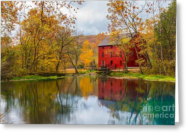 Alley Mill And Spring Greeting Card