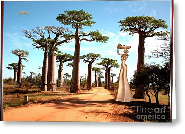 alley of baobabs and a statue of a  Girl Greeting Card by Pemaro