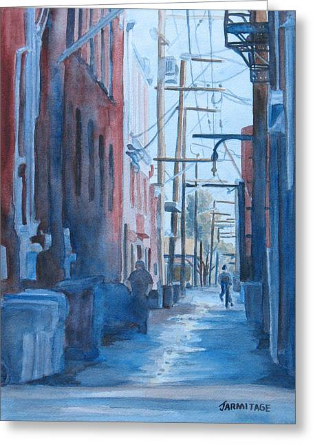 Alley Shortcut Greeting Card by Jenny Armitage