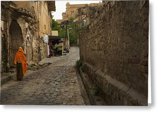 Alley To The Palace On The Hill Greeting Card