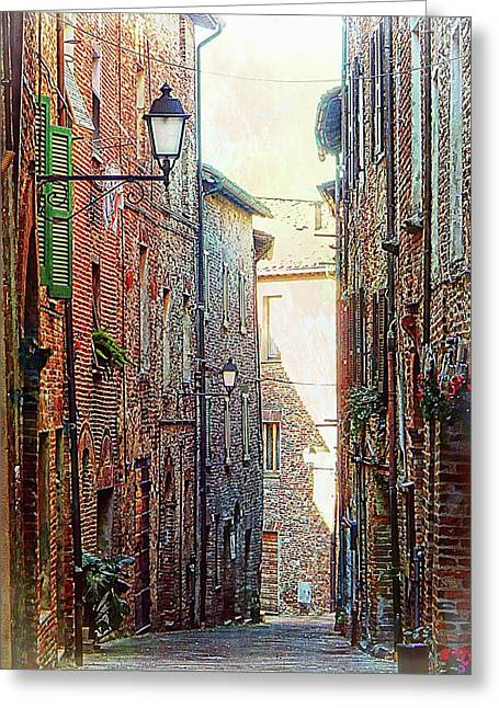 Alley View 2 Citta Della Pieve Umbria Greeting Card by Dorothy Berry-Lound