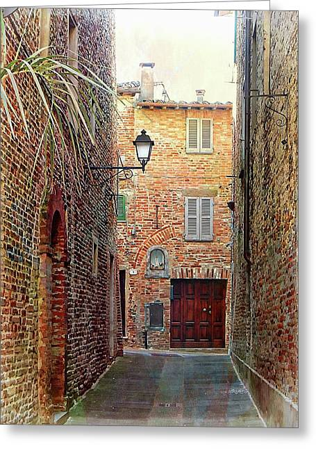 Alley View 3 Citta Della Pieve Umbria Greeting Card by Dorothy Berry-Lound
