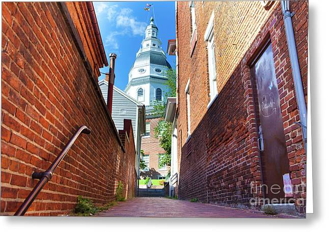Alley View Of Maryland State House  Greeting Card