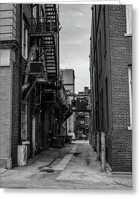 Greeting Card featuring the photograph Alleyway II by Break The Silhouette