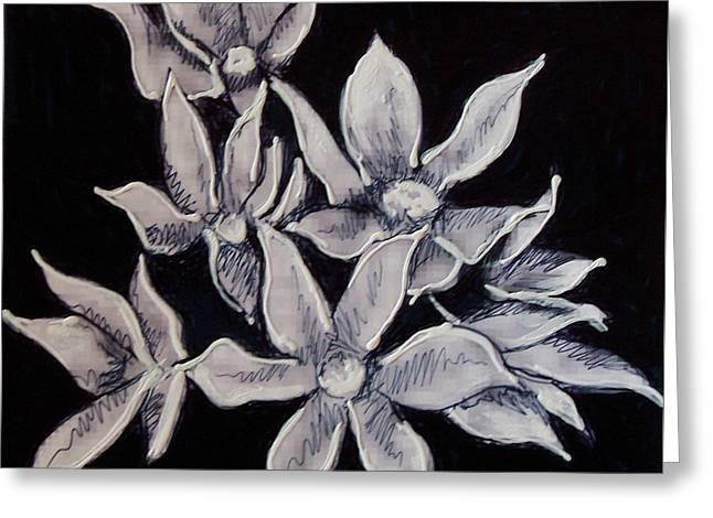 Greeting Card featuring the painting Allium Moly by Kym Nicolas